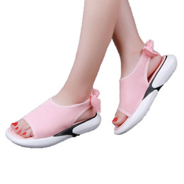 Wholesale white wedges bow - Women's Sandals Muffin Female Thick Bottom Wedges Sandal Girls Bow Design Shoes Woman #38 Summer Shoe 2018