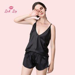 126ee8f8ef Lick Lip Spaghetti Straps Pajamas Sets Ladies Pyjama Set Silk Pijama  Feminino Satin Black White V-Neck Mujer Femme SWC3008-47