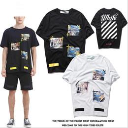 Wholesale black oil paint - Good quality New Hot Fashion Sale Brand Clothing Men Oil painting Print Cotton Shirt T-shirt men Women T-shirt styles S-2XL
