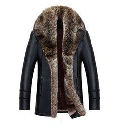 Wholesale Raccoon Leather Fur Coat - Wholesale-Winter Big Fur Raccoon Collar Coat Men Thick Leather plus Velvet Casual Single Breasted warm high quality luxury plus size M-5XL
