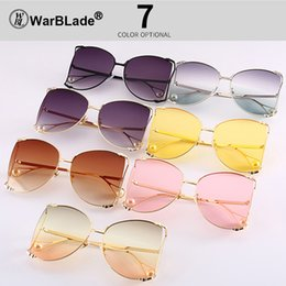 pink lense Promo Codes - 2018 Oversized Sunglasses Women Fashion Square sunglasses Pink Blue Lense Vintage Sun Glasses Ladies Big Shades Eyewear