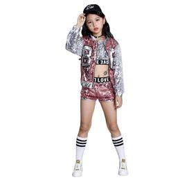 Wholesale Jazz Kids Clothes - Children Girls Sequins Hip Hop Costume Jazz Street Dance Clothing Set Kids Fashion Dancewear with Jacket
