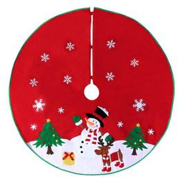Wholesale Apron Patterns - BESTOYARD Non-woven Christmas Xmas Tree Skirt Circle Snowman Pattern Base Cover Decoration Apron Wrap (Red)