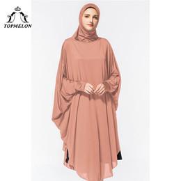 Mujeres islámicas kaftan online-TOPMELON Abaya Hijab Vestido Seda Larga y Sólida para Mujer Vestido Islámico Turco Pañuelo Culto Oración Prenda Kaftan 2018