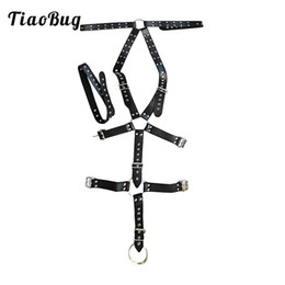 Wholesale full body lingerie - 2018 TiaoBug PU Leather Mens Full Exotic Body Chest Harness Bondage Male Sexy BDSM Bondage Groin Strap with O Ring Men Lingerie