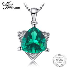 Изумрудная форма онлайн-JewelryPalace форма верхнего треугольника 1.68 ct создан Изумрудный кулон для женщин реального стерлингового серебра 925 ювелирные изделия не включают в себя цепь