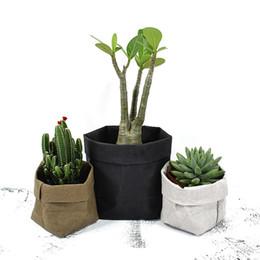 Wholesale Paper Vegetables - Kraft Paper Flowerpot Foldable Pots Waterproof 4 colors Environmental Protection Planters Flower Art Mini Garden Vegetable pouch Storage bag