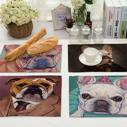Wholesale western napkins - Cartoon Dog Printed Napkin Linen Style Plate Coffee Table Decoration Western Aug31 Professional Factory price Drop Shipping