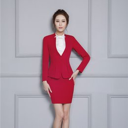 Wholesale Ladies Elegant Skirt Suits - Formal Red Blazer Women Skirt Suits Jacket Sets Elegant Ladies Business Clothes Office Beauty Salon Uniform Designs OL Style
