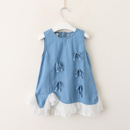 Wholesale Denim Lace Vest - Summer Kids jeans dress girls tassel Bows applique denim vest dress children splicing lace gauze irregular falbala hem dress Y0579