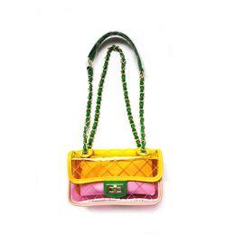 Wholesale E27 Yellow - Women Plastic Messenger Handbag Transparent Laser Handbag Clutch Shoulder Crossbody Bag Chain Bag Clear Bag Evening Purse E27