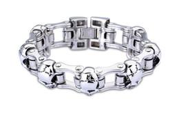Wholesale Titanium Steel Bicycle Chain - European and American creative personality bicycle bicycle fashion bracelet, skull titanium bracelet