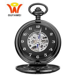 Relógios do ouyawei on-line-Ouyawei Vintage Black Skeleton Dial Relógio de Bolso Mecânico Com Cadeia Homens Relógio Colar Números Arábicos Bolso Fob Relógios