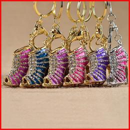 Wholesale Metal High Heels Shoes - Crystal High Heel shoes keychain key rings crystal shoes Carabiner Keychain handbag hangs women Metal keyring jewelry Christmas DHL 170502