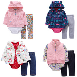 Wholesale Long Sleeve Baby Bodysuit 24 - FREE SHIPPING Baby Girls Hooded Coat 3 pieces Clothing Set (Hooded Long Sleeve Coat+Long Bodysuit+Long Pants) 6-24 Months Bebes
