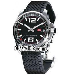 смотреть xl Скидка Новый GT XL Chrono 168997-3001 стальной корпус черный циферблат автоматические мужские часы автомобильные шины резиновые черный спортивные часы дата высокое качество CHD-B54a1