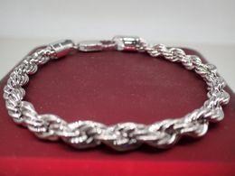 weißseil zum verkauf Rabatt 24k echtes weißes festes Gold füllte Seil-Armband 5mm, 19cm / 7.5 Zoll lang, das Verkaufs-Ereignis der Männer / der Damen