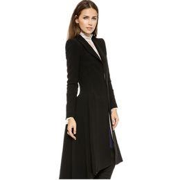 Casaco de dovetail on-line-Mulheres Casacos de Outono inverno rabo de andorinha Preto longo Trench Dovetail Plus Size 5XL 6XL Feminino Casaco De Lã jaquetas Outwear S18101306