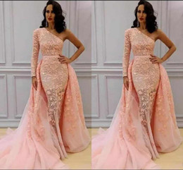 Arabic Mermaid Evening Dresses Wear One Shoulder Appliques Formal Dress One Long  Sleeves Detachable Train Long Prom Gowns b7933d82283f