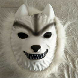 Wholesale white plastic face mask - White Wolf Hair Mask Halloween Costumes Cartoon Plastic Children Kid Adults Toys Cosplay Party Supplies Masks Ventilation 4fl bb