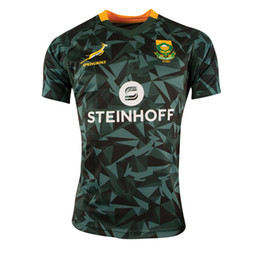 Wholesale national africa - 2018 2019 Mens South Africa Fan 7s Home Rugby Shirt Springboks South African national team rugby jerseys shirts size S-3XL