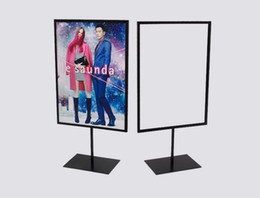 Wholesale Advertising Pictures - Wholesale-Poster banner picture frame stand POP billboard vertical A4 poster holder promotion stand advertising signage frame