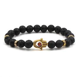 Bangle di moda di buddha online-Moda casual unisex Lava Rock Beads Bracciale Gufo Buddha Lion mano bracciali 8mm lega di pietra naturale braccialetti per le donne uomini regalo