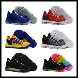 Wholesale Leather Bows Shoes - KD 10 kids Basketball shoes 2018 hot sales Kevin Durant FMVP sneaker Childrens shoes store free shipping wholesale store size 36-46