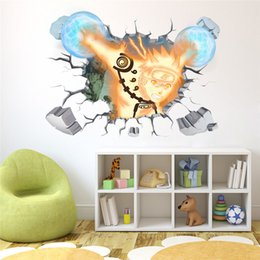 Wholesale Wall Stickers Naruto - New 60*90cm PVC Translucent 3D Wall Stickers Naruto Miyazaki Anime DIY Poster kids Rooms Painting for Home Decorative Sticker