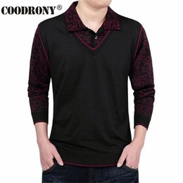 Wholesale false knitting - Fashion False Two Sweater Men Clothing Wool Mens Sweaters Long Sleeve Shirt Pullover Men Slim Fit Dress Casual Pull Homme S- 4XL