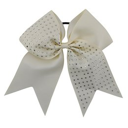 Wholesale Blue Cheer Bows - 8 Inch Grils Large Grosgrain Ribbon Rhinestone Ponytail Cheer Bow With Elastic Band For Children Hair Accessories 10pcs