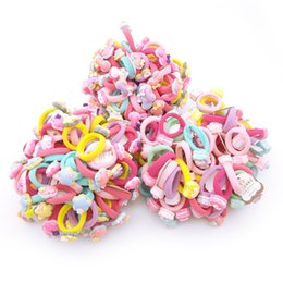 Wholesale acrylic hair bands - Lot 100Pcs Child Kids Hair Holders Cute Acrylic Cat Flower Bow Rubber Hair Band Elastics Accessories Girl Charms Tie Gum