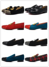 Wholesale red womens oxfords - 18 colours! Brand Fashion Red Bottom Shoes Greggo Orlato Flat Genuine Leather Oxford Shoes Mens Womens Walking Flats Wedding Party 5161