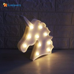Wholesale 3d Sign Letters - LumiParty 3D LED Unicorn Marquee Light Warm White LED Marquee Sign Light up Unicorn Letters Lamp for Home Decoration