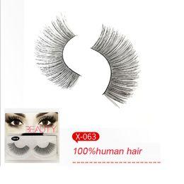 Veri ciglia di capelli umani online-Real Human Hair Lashes Fatto a mano Strip Full Eyelashes Natrual Soft False Eyelash Makeup Tools
