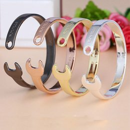 Wholesale Spanner Jewelry - Wrench Cuff Bracelets Women and Men Gold Silver Rose Gold Black Spanner Bangles Adjustable Fashion Jewelry