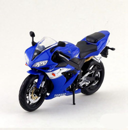 Wholesale Diecast Bicycles - Free shipping High simulation Yamaha YZF-R1 Diecast motorcycle model Exquisite collection model black blue white