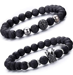 dünnes versilbertes armband armband Rabatt 2 teile / satz schwarz lava stein krone armband set luxus cz gepflasterte paar braslet für männer armband schmuck zubehör pulseras hombre