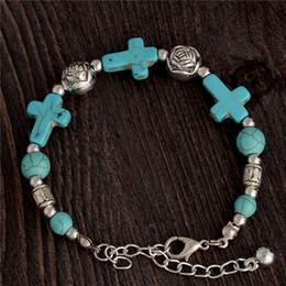 Cruzes de pedra feitas à mão on-line-Atacado-cigana Tibetano Prata TURQUESA Pedra Cruz Beads Handmade Pulseira Vintage Pulseira Jóias Cruz Pulseira para Mulheres Jewellery
