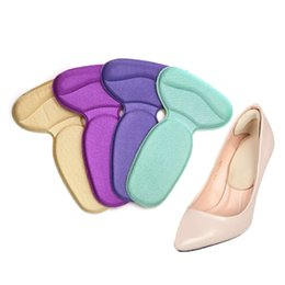 Wholesale shoe inserts for heels - 1Pair Soft Heel Cushions Inserts For Shoes Woman Soft Insole Foot Heel Pad Soft Pad Shoe Sticker Feet Massager New Health Care