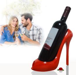 Wholesale wine racks holders - 5 Colors Wine Rack High Heel Shoe Bottle Holder Storage Wedding Party Decor Ornament EEA337 30PCS