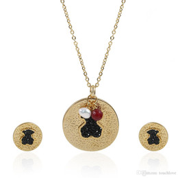 Wholesale Zircon Necklace Sets - TL Classic Natural Black Zircon Bear Jewelry Set Famous Brand Gold Set Hot Sale Never Fade High Quality Gift