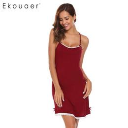Wholesale Square Trim - Ekouaer Brand Spaghetti Strap Nightwear Women Sleeveless Lace-Trimmed Nighties Sleepwear Sexy Slim Backless Home Clothing