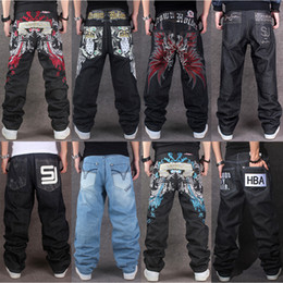 Wholesale Men Leisure Pants - Multi-style Large Size Men's HIPHOP Embroidery Straight Loose Casual Skateboard Pants Plus Leisure Jeans Streetwear Long Trousers