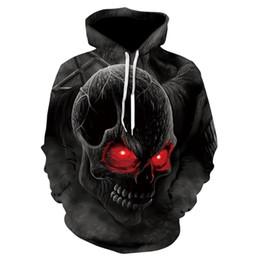 Sudadera con capucha de ojos rojos online-2018 Spring Fashion Men / women Hoodies Street clothing Ojos rojos Skull head Sudadera con capucha Sudadera 3D Casual chándales encantadoras