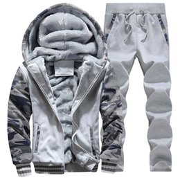 Coole schweißhose online-Winter Männer Trainingsanzüge Fleece warme Herren Trainingsanzug Set lässig Jogginganzüge Sportanzüge coole Jacke Hosen und Sweatshirt-Set