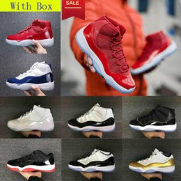 Wholesale Navy Blue Canvas Shoes - With Box Retro 11 basketball Shoes men women high gym red Midnight Navy low bred Barons university blue Varsity Red sneakers us5.5-13