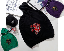 Wholesale Thin Head - G wolf head sports embroider Kanye West hoodies Hoody Men Women Fashion Swag Hip Hop svitshot Justin Bieber Letter Love Hoodie Cooo Coll