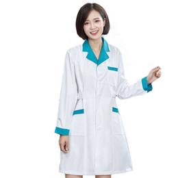 Wholesale Uniform Scrubs - Women's Long Sleeve Color Blocking Notched Collar Lab Coat   Nurse Svices Uniform Medical Scrub Clothes