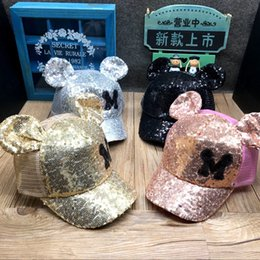 Wholesale Kid Hat Funny - Sequins Hats for Boys Girls Funny Hats Spring Summer Hip Hop Boy Hats Caps 2018 Hot Selling Kids Snapback Baseball Cap With Ears